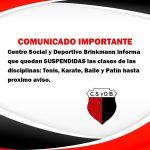 CLUB CENTRO SOCIAL SUSPENDE ACTIVIDADES HASTA NUEVO AVISO
